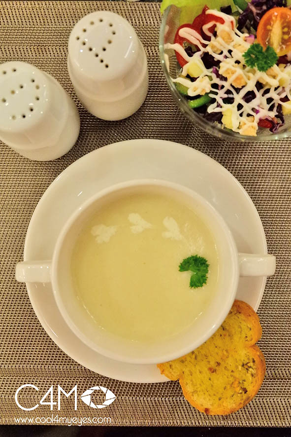 Mix Vegetables with Chicken Salad and Cream of Potato Soup